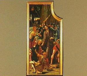 De gevangenneming (op de achterzijde een paus in een kerkinterieur)