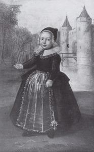 Portret van een onbekend kind, op de achtergrond kasteel Egmond