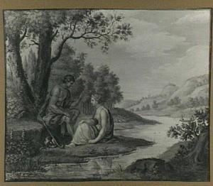 Rivierlandschap met herder en nimf