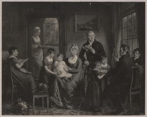 Portret van Adrianus Bonebakker (1767-1842) met zijn gezin en Diederich Ludowig Bennewitz (1764-1826)