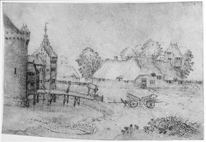Landschap met kasteel, gracht en boerderij