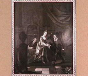 Allegorie op het vertrek van de schilder uit het weeshuis