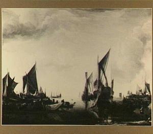 Bezoek van de stadhouder prins Frederik Hendrik aan de vloot van de Staten Generaal op de Merwede bij Dordrecht, in 1646; rechts op de achtergond de ruïne van het Huis te Merwede