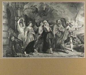De vlucht van Lot en zijn familie uit Sodom, de engel maant aan tot spoed  (Genesis 19:15-29)