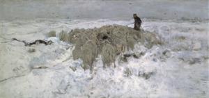 Kudde schapen met herder in de sneeuw