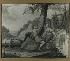 Arcadisch landschap met Angelica en Medoro