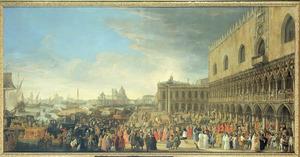 Aankomst van de Franse ambassadeur César d'Estrées in Venetië, 1701