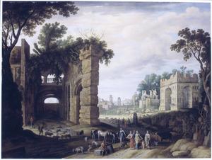Gezicht op het Forum Romanum te Rome met Rebekka en Eliëzer bij de bron (Genesis 24:17)