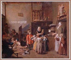 Schoolkinderen en een meester in een klas