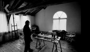 Corneille aan het werk in zijn atelier