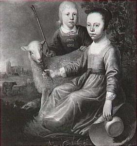 Portret van twee kinderen met een schaap, met een gezicht op de Dordtse toren