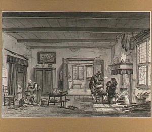Interieur met vrouw, spelende kinderen en mannen rond een haard