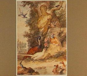 Eenden, ijsvogel, pauwies, fazanten en andere vogels rond een faunbuste in een park