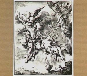 Een engel weerhoudt Abraham om Isaäk met een zwaard te slachten (Genesis 22:10)