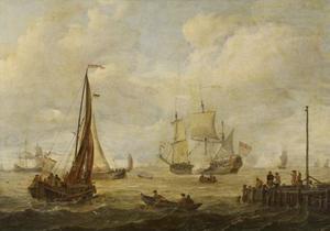 Hollands fregat lost een saluutschot voor de kust
