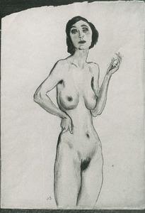 Vrouwelijk naakt met sigaret