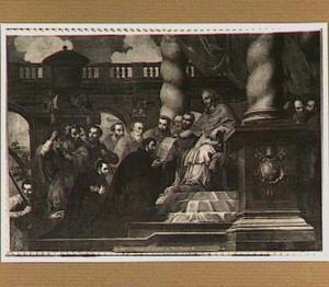 De H. Franciscus Xaverius ontvangt in het bijzijn van de H. Ignatius van Loyola zijn apostolische opdracht van paus Paulus III