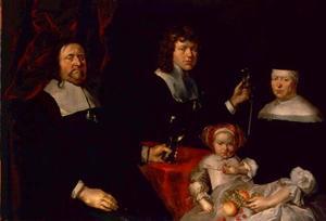Portret van wijnhandelaar Knud Olufsen Gamborg, zijn vrouw Giertrud Jensdatter (?-1682), hun zoon Frederik (1650-1691) en hun dochter