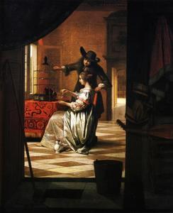 Man en vrouw met papegaai in een interieur