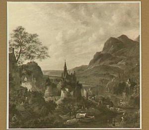 Berglandschap met aanlegplaats