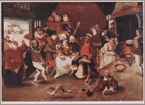 Herberginterieur met feestende boeren
