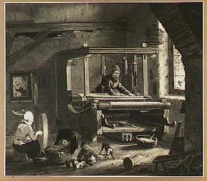 Interieur met een wever aan het werk; op de voorgrond een vrouw aan een spinnewiel