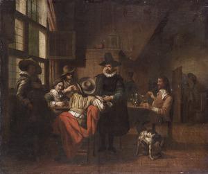 Interieur met kaartende mannen in zeventiende-eeuws kostuum