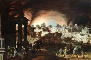 Aeneas en zijn familie ontvluchten het brandende Troje
