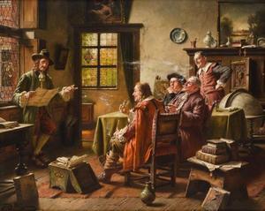 Vijf  mannen in een oud-Hollands interieur