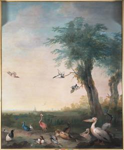 Managerie van Prins Willem V verbeeldende een landschap met exotische vogels en een molen