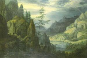 Rijnlandschap met boeren op een bergpad