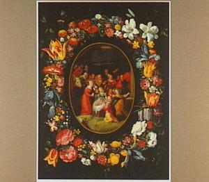 Bloemenkrans rond een voorstelling van een aanbidding der herders