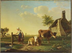 Twee koeien en een melkmeid in een landschap