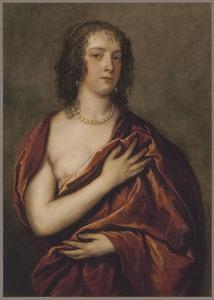 Portret van Margaret Lemon met ontblote rechterborst