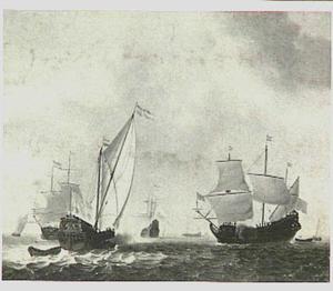 Hollands jacht lost saluutschot met rechts een pinas