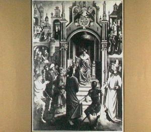 Christus voor Pilatus. In de achtergrond: Christus naar Annas geleid, de bespotting, de verloochening door Petrus en Christus voor Kajafas