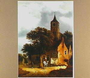 Landschap met een weg langs een kerk