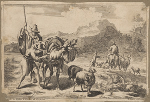 Zuidelijk landschap met herders en hun vee bij een rivier
