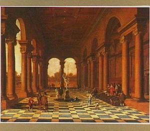 Galerij van een paleis met elegant gezelschap