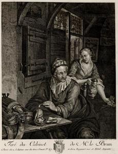Draailierspeler en vrouw in een herberg