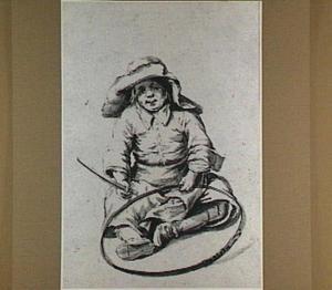 Zittend jongetje met een hoepel