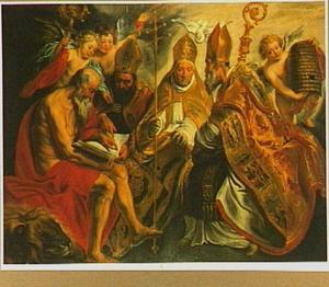 De vier Latijnse kerkvaders: de HH. Hiëronymus, Augustinus,  Gregorius en Ambrosius