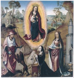 Maria met kind in een mandorla, de HH. Hiëronymus en Barbara met een stichtster. In de achtergrond Christus in de Hof van Olijven (links), de H. Ursula (?) en Christus verschijnt aan Maria Magdalena (rechts)