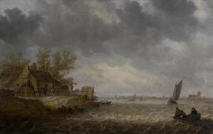 Gezicht op Dordrecht vanaf Papendrecht gezien
