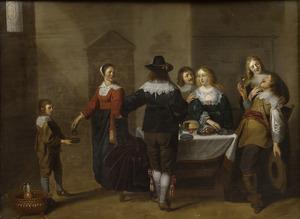 Interieur met een elegant gezelschap rond een gedekte tafel