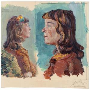 2 portretjes van twee jonge dames naar elkaar kijkend
