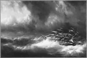 Zr.Ms. stoomtransportschip Java in een orkaan ter hoogte van het eiland Rodriques, 14 april 1867