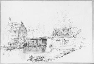 Landschap met boerderij en houten brug