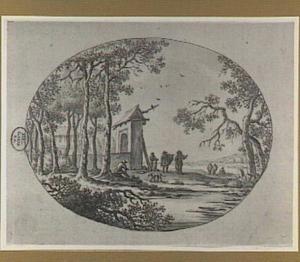 Landschap met toegangspoort en figuren bij een rivier