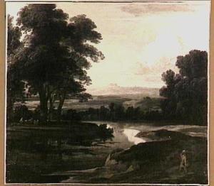 Boslandschap met een rivierbocht en een heuvel in het verschiet